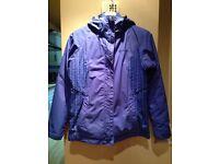 Columbia purple girls ski jacket and black Columbia ski trousers aged 15/16 years