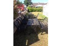 Antique solid iron garden table and chairs