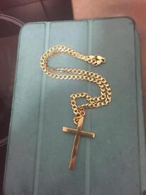 9ct Gold Cross & Chain 22.6g Not Scrap