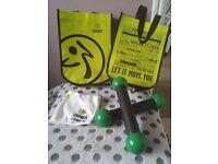 Zumba toning sticks (with 2 x small zumba bags with zumba facecloth)