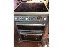 Silver Hotpoint 60cm ceramic hub electric cooker grill & double fan ovens good condition with g