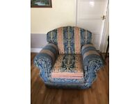 Three seater sofa with arm chair