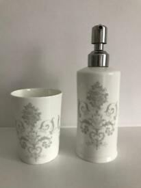 Laura Ashley Josette Dove Grey Soap Dispenser & Toothbrush Holder
