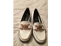River Island white shoes with gold buckle size 5