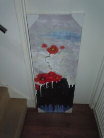 NEW ORIGINAL OIL PAINTING RED POPPIES
