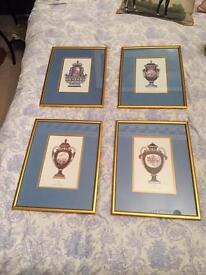 Set of 4 beautifully framed vases