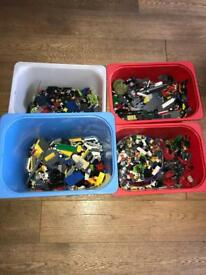 APPROX 14KG OF MIXED LEGO PIECES, CHARACTERS AND VEHICLES