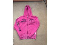 Pink Womens Cross Hatch Zip Up Hoodie Top