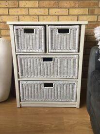 white rattan drawer