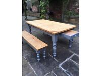 Farmhouse Wood Kitchen Table & Benches with drawer.
