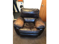 2 Recling brown leather electric chairs