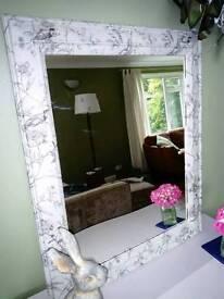 Grey and cream floral mirror