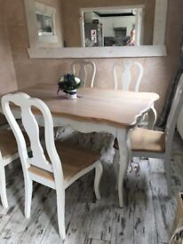 Solid French White Oak Table & 6 Matching Chairs. French Shabby Chic Style, Excellent Condition