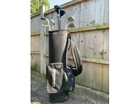 Set of 9 golf clubs with bag and balls