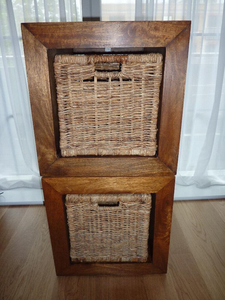 wood cubes furniture. NEXT Dakota Mango Wood Storage Cubes X 2 With Rattan Baskets Furniture