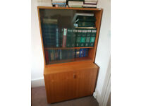 Large Glass Fronted Sliding Door Cabinet with Shelved Lower Storage Unit #046F