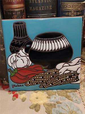 """2014 Handmade 6"""" Southwest Decor Art Tile Signed Pottery Peppers Garlic Corn"""