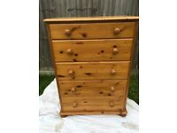 Solid Pine Chest Of Drawers
