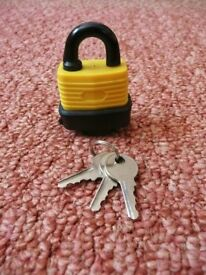 Yellow and Black Small Waterproof Padlock / Safety / Security Lock with 3 Keys