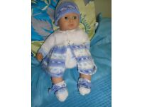"""NEW HAND KNIT CLOTHES TO FIT LITTLE 12"""" BABY ANNABELL/BABY BORN NICE GIFT"""
