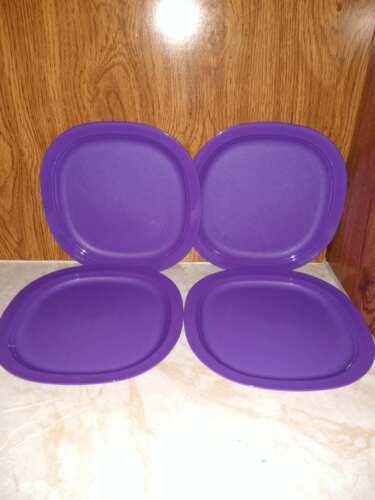 "Tupperware Microwave Reheatable Luncheon Plates 9.5"" Square Set of 4 Purple"