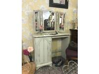 Shabby chic style dressing table with large triple mirror painted solid wood solid pine