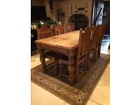 Hand carved solid reclaimed pine 6ft dinning table and 6 chairs set. Keenpine