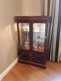 High gloss mahogany display cabinet