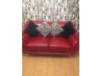 2 X 2 seater red leather sofas