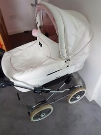 White & pink emmaljunga 2 in one pram