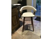 Cream leather and wood bar (Kitchen) stools x 2