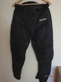 Rayven motorcycle leathers, 2 piece, black, XL jacket, 34 bottoms