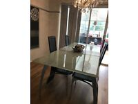 Large glass dining table extendable