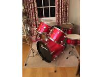 Red Ridgewood Drum kit - broken snare but fixable