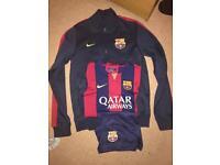 Barcelona FC tracksuit jumper, shirt and shorts.