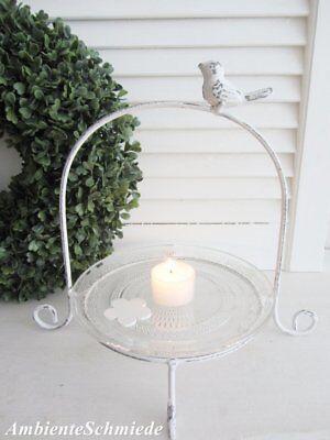 Etagere VOGEL Metall Glas-Teller weiß 24cm Deko Shabby Chic Vintage