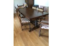 Old Charm Dining Table, 4 Chairs , 2 Carvers