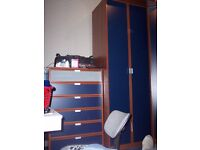 Blue IKEA PAX wardrobe (2 free standing + 1 large corner) 9 feet tall (approx) + chest of drawers