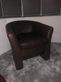Brown Leather Tub Chair