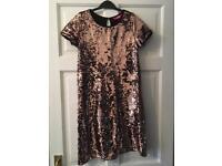 Girls Copper Sequin Slip Dress
