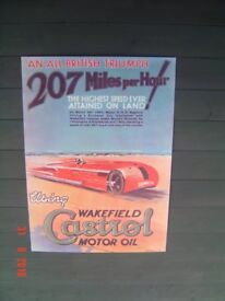Framed Poster of the Sunbeam Land Speed Record using Castrol Motor Oil in 1927. Can Deliver.