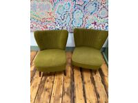 Set of two vintage mid century armchairs (green)