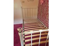 Next white metal single bed with diamonds tops