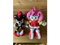 Rare Amy & Shadow Plush Sonic the Hedgehog Soft Toys