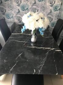 Marble table & 6 High back chairs