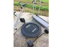Mini Gym - Manual treadmill, exercise bike, trampoline and barbell