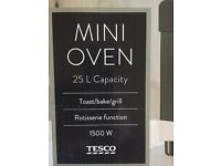 Tesco Plus Mini Oven, Stainless Steel, 25L with FAN