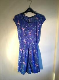 Blue Silky Playsuit with Birds - Size 12