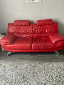 DFS Red Leather sofa and seat