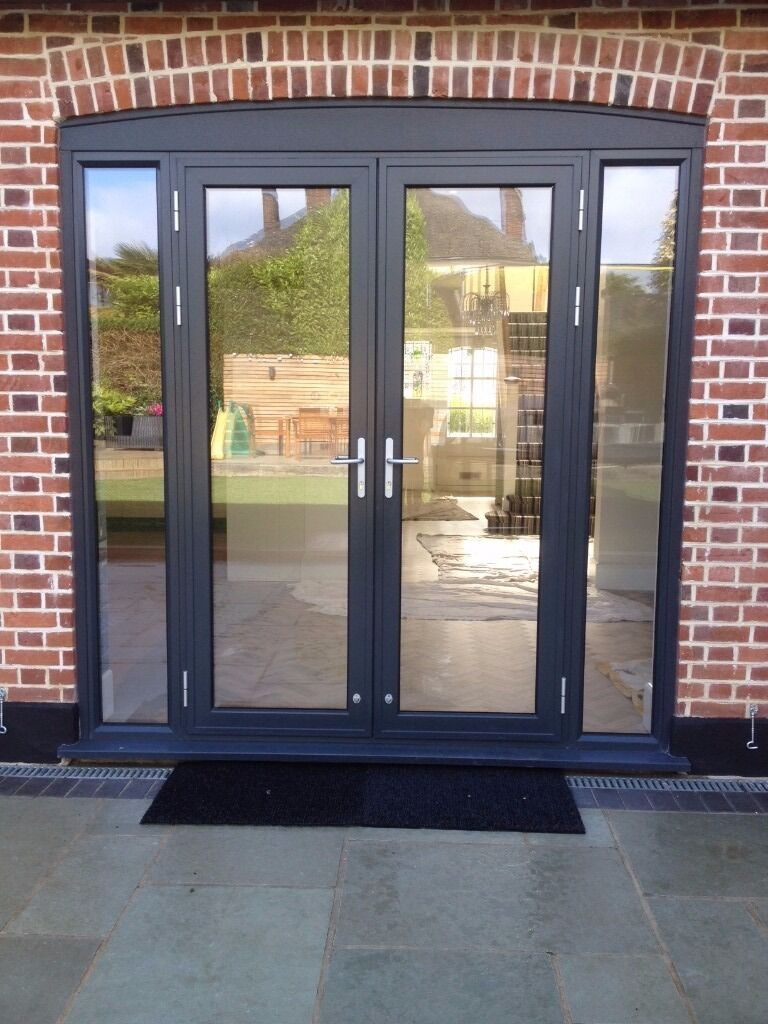Grey Aluminium French Patio Doors 235cm X 235cm Approxduced To